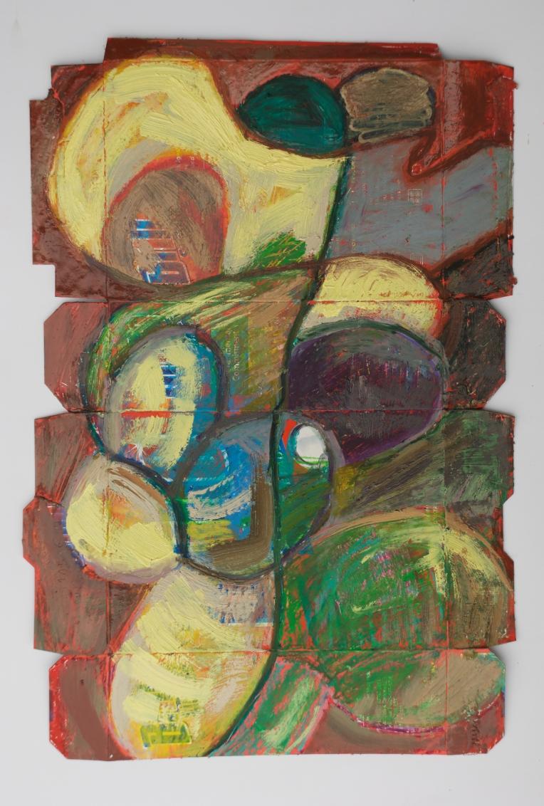 Brillo Box #2, oil pastel and oil paint on printed cardboard Brillo box, Feb 2012, Marie Kazalia