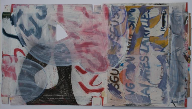 Deconstruction: Tokyo, 15 x 27 inches, mixed media on paper board, Marie Kazalia