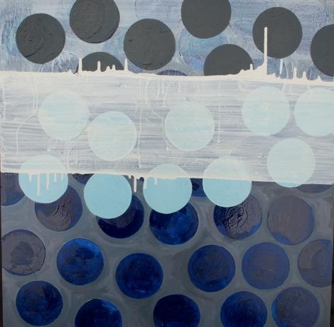 Blue Rice Cracker, oil painting on panel, 24 x 24 inches, Marie Kazalia, 2012