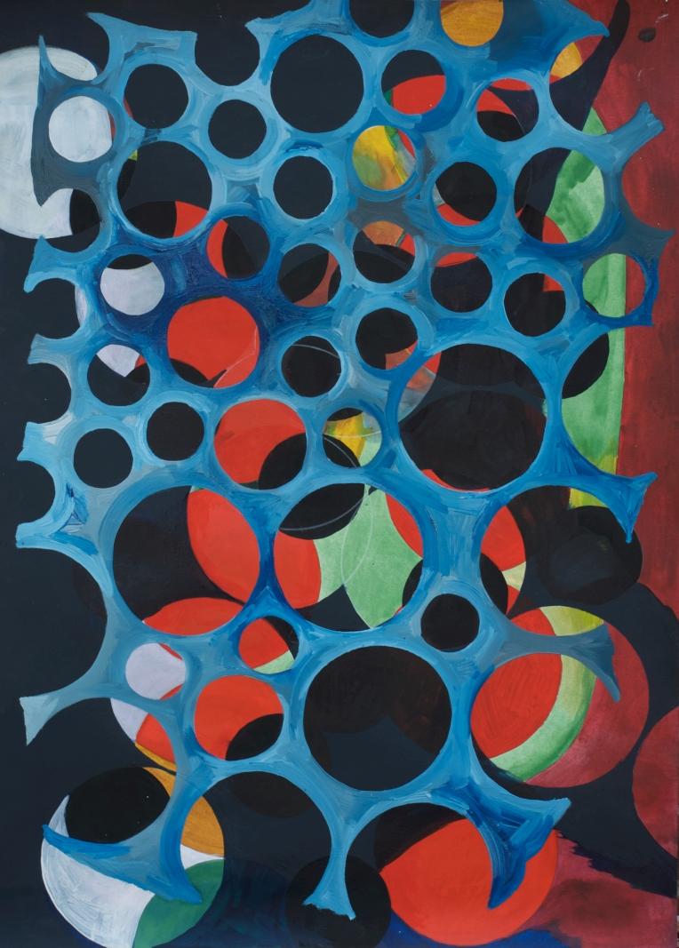 Slice of Night, Mixed media painting on Lennox paper, Marie Kazalia, March 2013