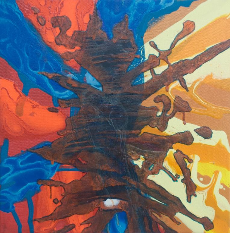 Splash 2, Marie Kazalia, 2008, 12 x 12 x 2 inches, painting on canvas