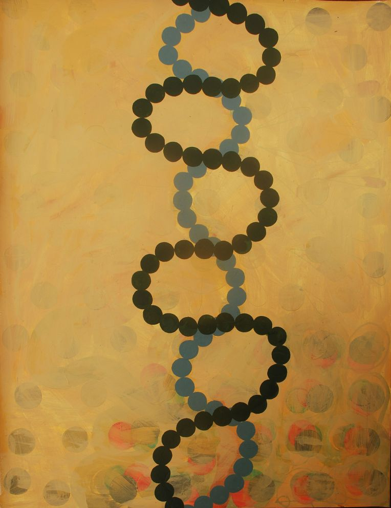 helix 1, Marie Kazalia, painting on Coventry Rag fine art paper, 30 x 23 inches, Oct 2015