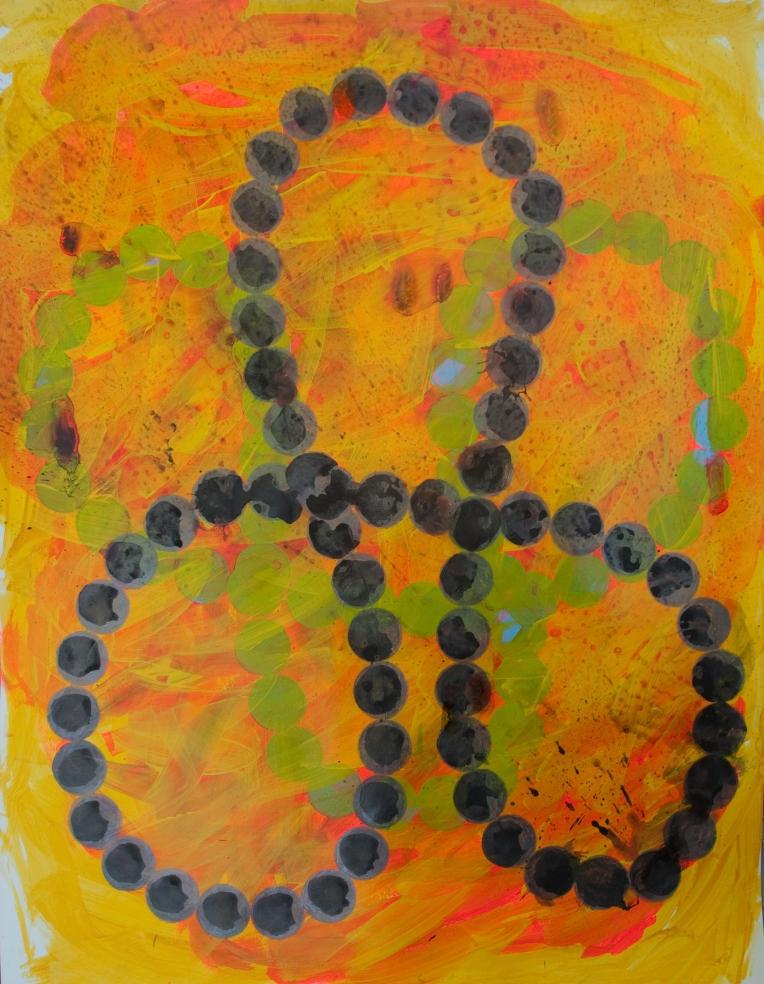 Symbol 2, painting on Coventry Rag fine art paper, Marie Kazalia, June 2014