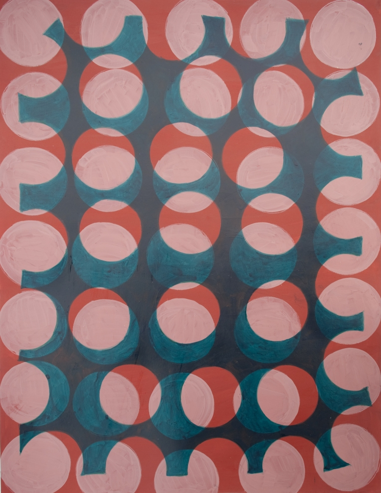 Orbgrid(turquoise), painting on Coventry Rag, Marie Kazalia, dimensions: 30 x 23 inches