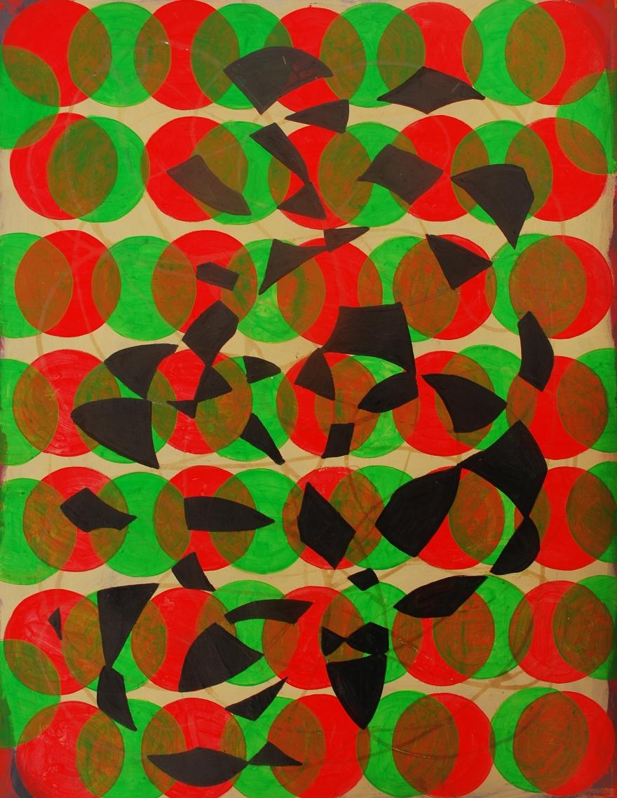astir, Marie Kazalia, January 2015, oil paint, fluorescent acrylic on Coventry Rag fine art paper, 23 x 30 inches