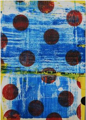 yellow,red,blue, Marie Kazalia, mixed media on cardboard