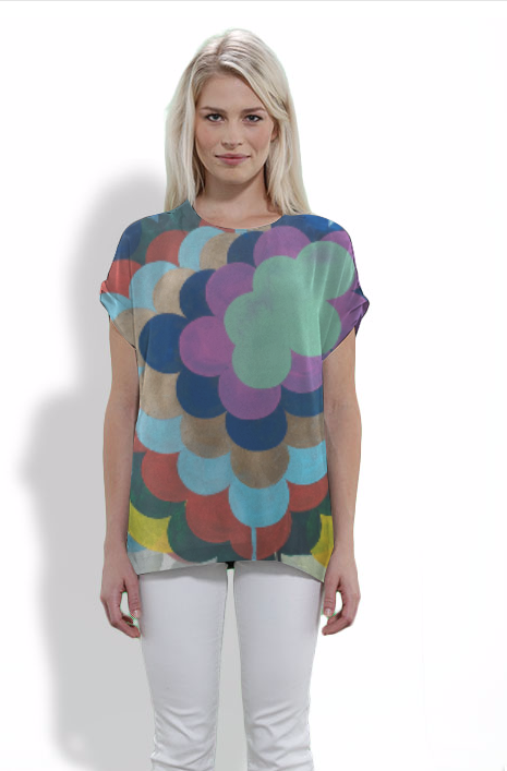 design on silk t shirt by Marie Kazalia