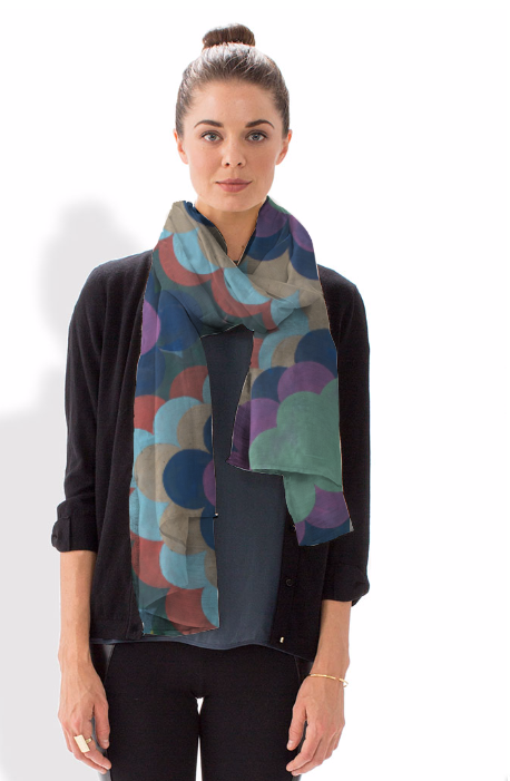 Design by Marie Kazalia on silk scarf
