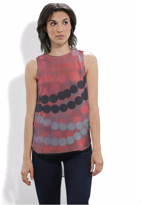 design by Marie Kazalia on silk tank top